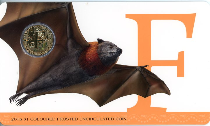 Thumbnail for 2015 $1 Coloured Frosted Alphabet UNC Coin - F Is For Flying Fox