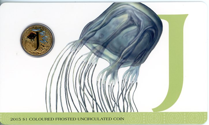 Thumbnail for 2015 $1 Coloured Frosted Alphabet UNC Coin - J Is For Jellyfish