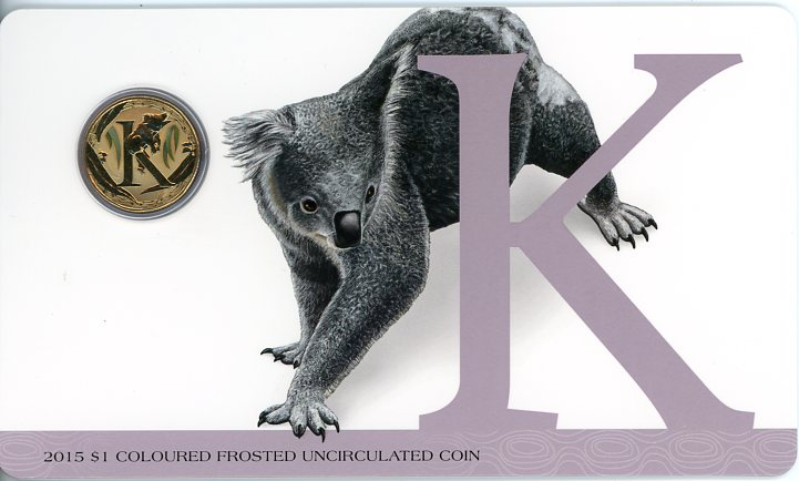 Thumbnail for 2015 $1 Coloured Frosted Alphabet UNC Coin - K Is For Koala