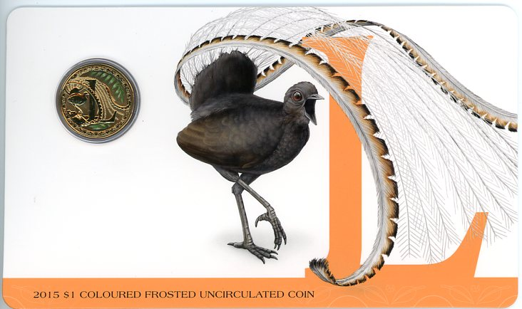Thumbnail for 2015 $1 Coloured Frosted Alphabet UNC Coin - L Is For Lyrebird