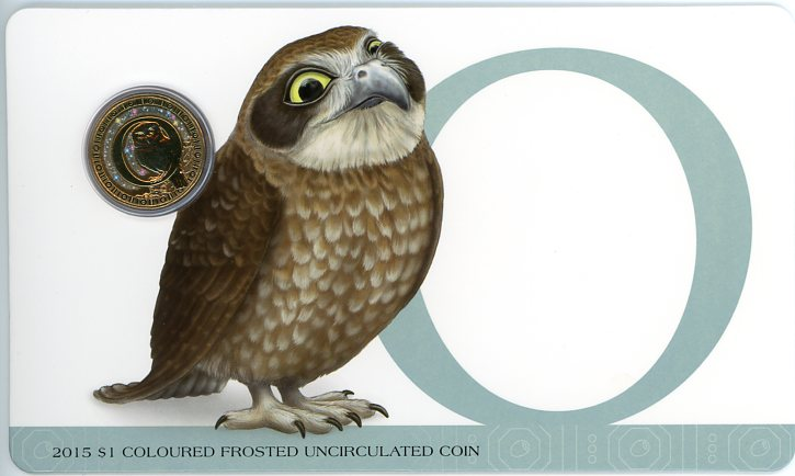 Thumbnail for 2015 $1 Coloured Frosted Alphabet UNC Coin - O Is For Owl