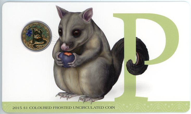 Thumbnail for 2015 $1 Coloured Frosted Alphabet UNC Coin - P Is For Possum