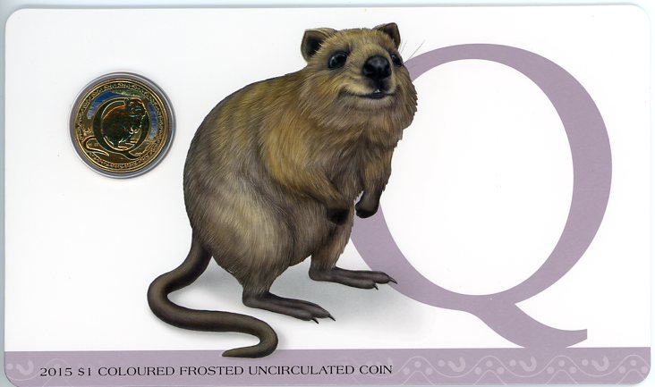 Thumbnail for 2015 $1 Coloured Frosted Alphabet UNC Coin - Q Is For Quokka