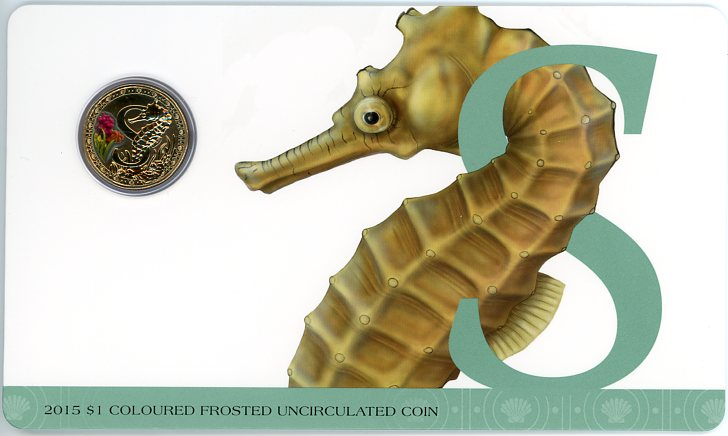 Thumbnail for 2015 $1 Coloured Frosted Alphabet UNC Coin - S Is For Seahorse