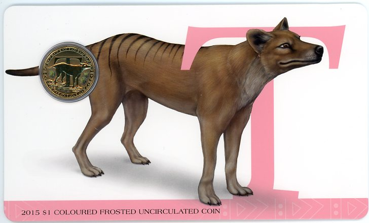 Thumbnail for 2015 $1 Coloured Frosted Alphabet UNC Coin - T Is For Tasmanian Tiger