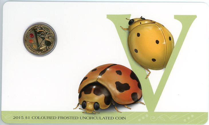Thumbnail for 2015 $1 Coloured Frosted Alphabet UNC Coin - V Is For Variable Ladybird