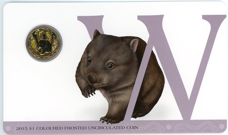 Thumbnail for 2015 $1 Coloured Frosted Alphabet UNC Coin - W Is for Wombat
