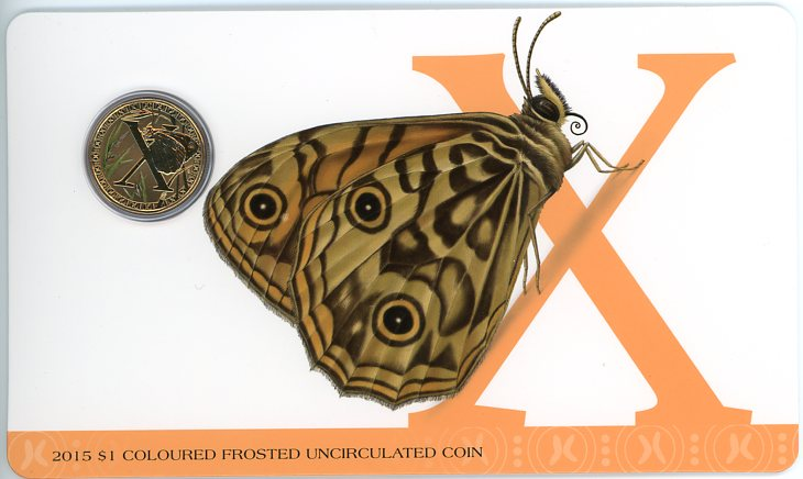 Thumbnail for 2015 $1 Coloured Frosted Alphabet UNC Coin - X Is For Xenica Butterfly