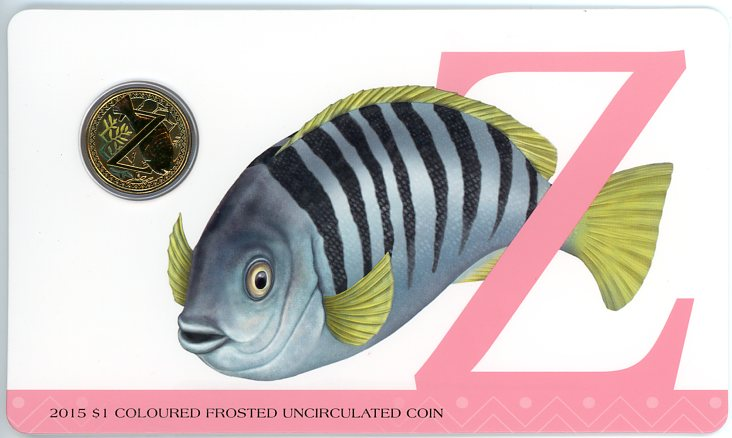 Thumbnail for 2015 $1 Coloured Frosted Alphabet UNC Coin - Z Is For Zebra Fish