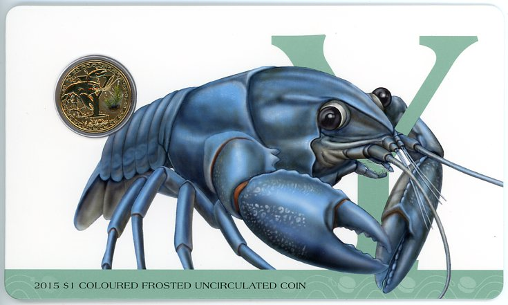 Thumbnail for 2015 $1 Coloured Frosted Alphabet UNC Coin - Y Is For Yabby