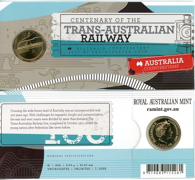 Thumbnail for 2017 Centenary of the Trans -Australian Railway Australia Counterstamp