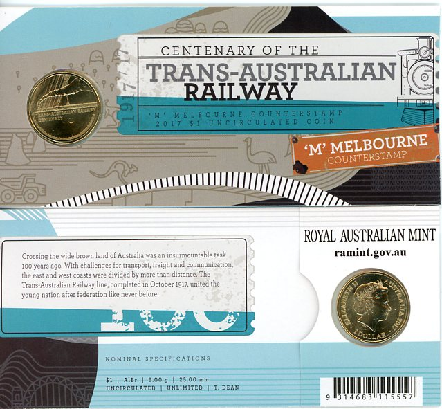 Thumbnail for 2017 Centenary of the Trans-Australian Railway M Counterstamp