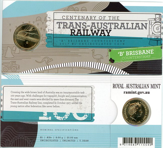 Thumbnail for 2017 Centenary of the Trans Australian Railway B Counterstamp