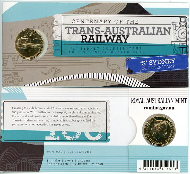 Thumbnail for 2017 Centenary of the Trans-Australian Railway S Counterstamp