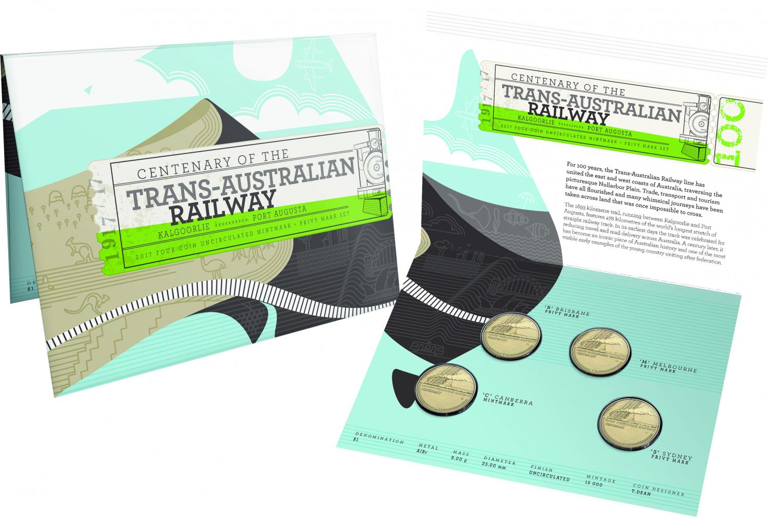 Thumbnail for 2017 Trans-Australian Railway 4 Coin Privy Mark Set CBMS