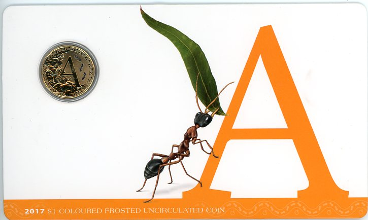 Thumbnail for 2017 $1 Coloured Frosted Alphabet UNC Coin - A Is For Ant
