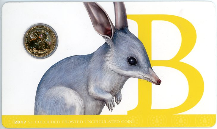 Thumbnail for 2017 $1 Coloured Frosted Alphabet UNC Coin - B Is For Bilby