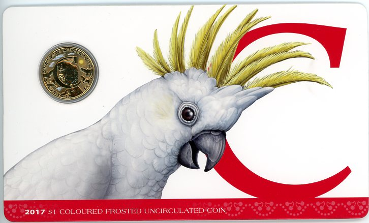 Thumbnail for 2017 $1 Coloured Frosted Alphabet UNC Coin - C Is for Cockatoo