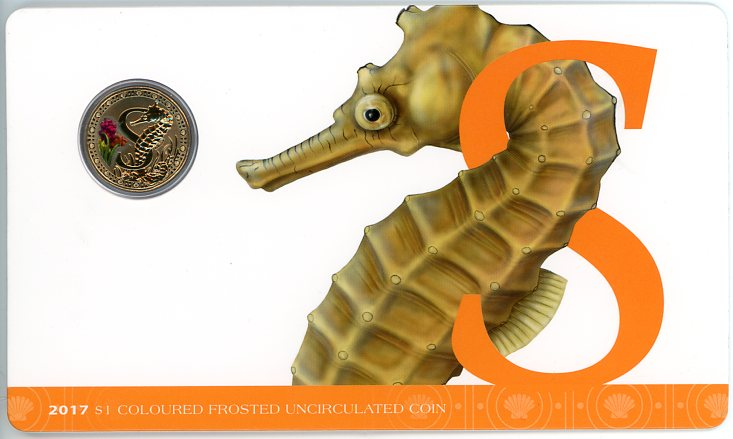 Thumbnail for 2017 $1 Coloured Frosted Alphabet UNC Coin - S Is For Seahorse