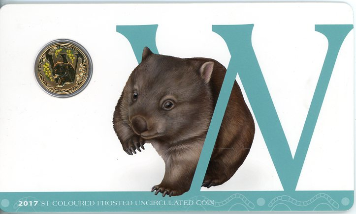 Thumbnail for 2017 $1 Coloured Frosted Alphabet UNC Coin - W Is For Wombat