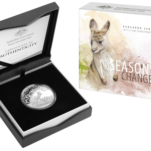 Thumbnail for 2017 1oz Fine Silver Proof dollar Coin - Seasons Change Kangaroo Series