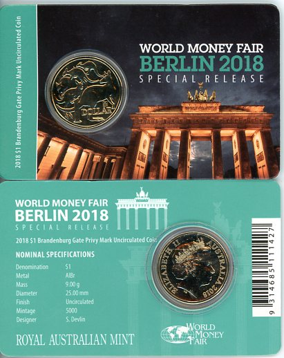 Thumbnail for 2018 Mob of Roos World Money Fair Berlin - Brandenburg Gate Privy Mark
