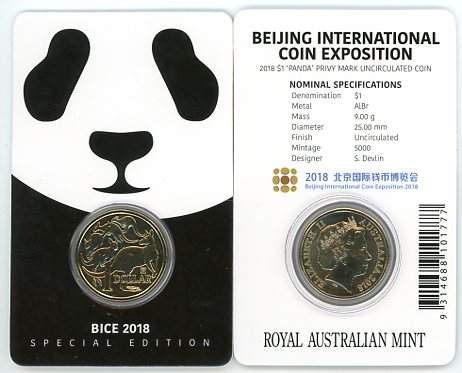 Thumbnail for 2018 $1 Coin Mob of Roos with Beijing International Coin Exposition Panda Privy