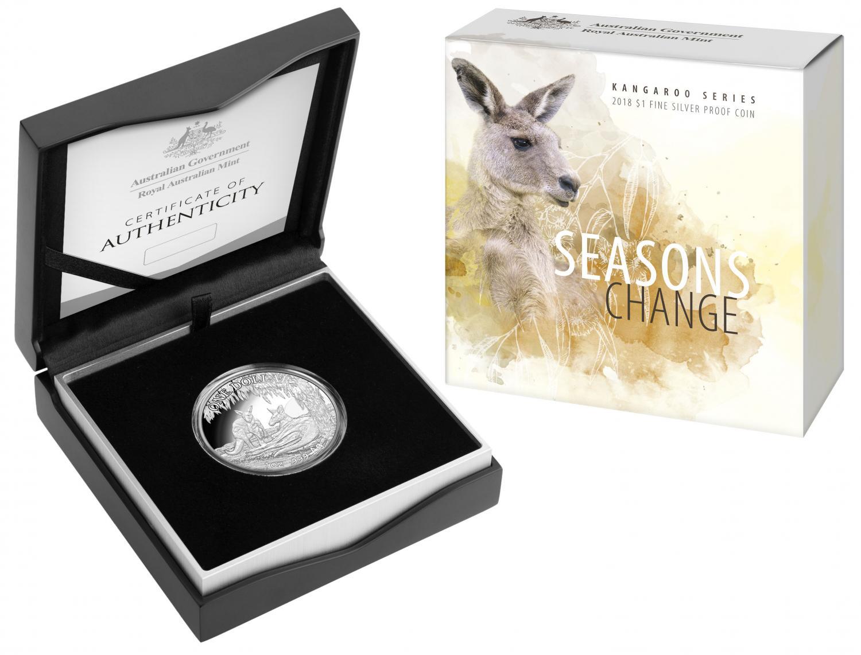 Thumbnail for 2018 $1 Fine Silver Proof Coin - Kangaroo Series Seasons Change