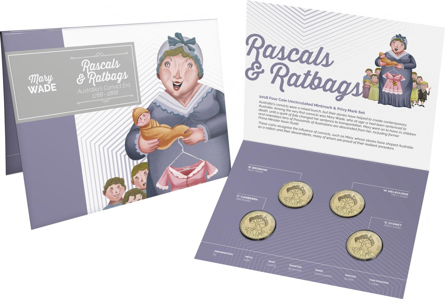 Thumbnail for 2018 Rascals & Ratbags 4 Coin Privy Mark Set CBMS