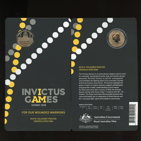 Thumbnail for 2018 $1 Invictus Games Coloured Frosted UNC Coin on Card