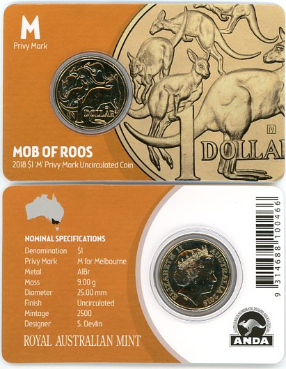 Thumbnail for 2018 $1 UNC Coin Mob of Roos