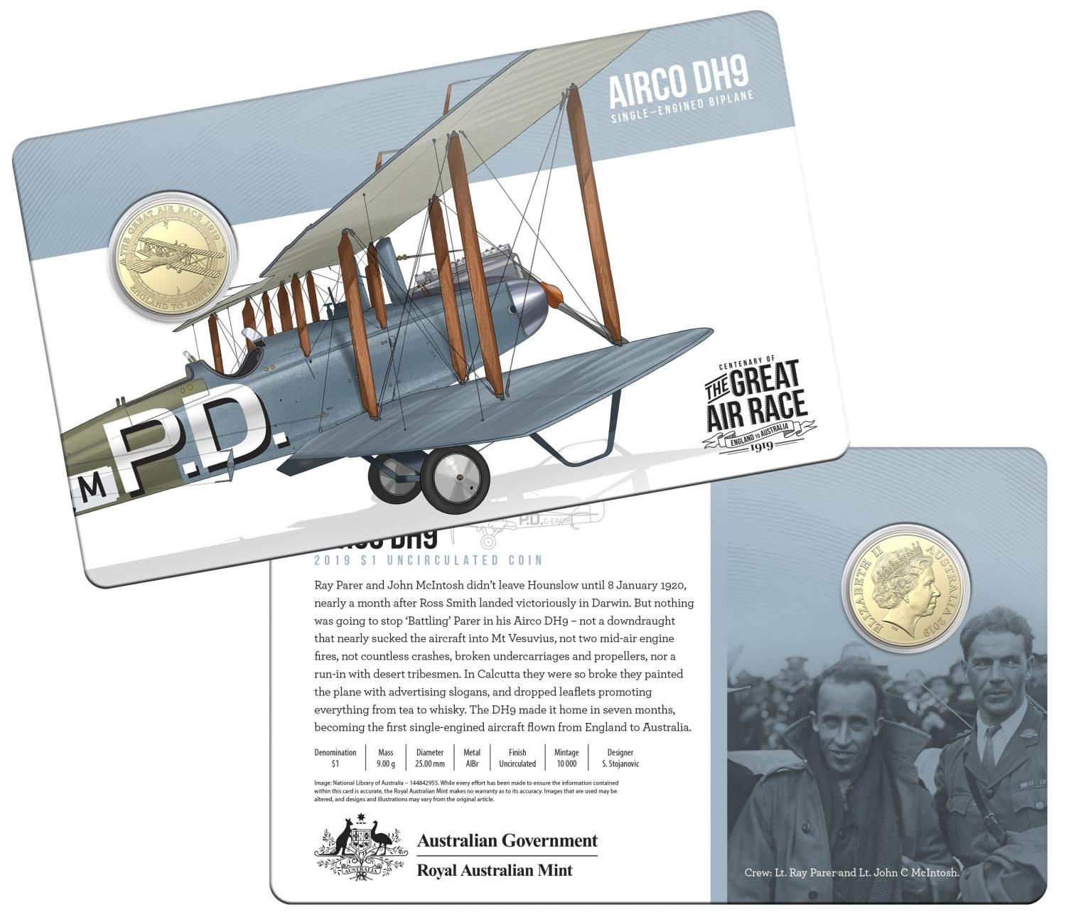 Thumbnail for 2019 Centenary off the Great Air Race Uncirculated $1.00 - Airco DH9