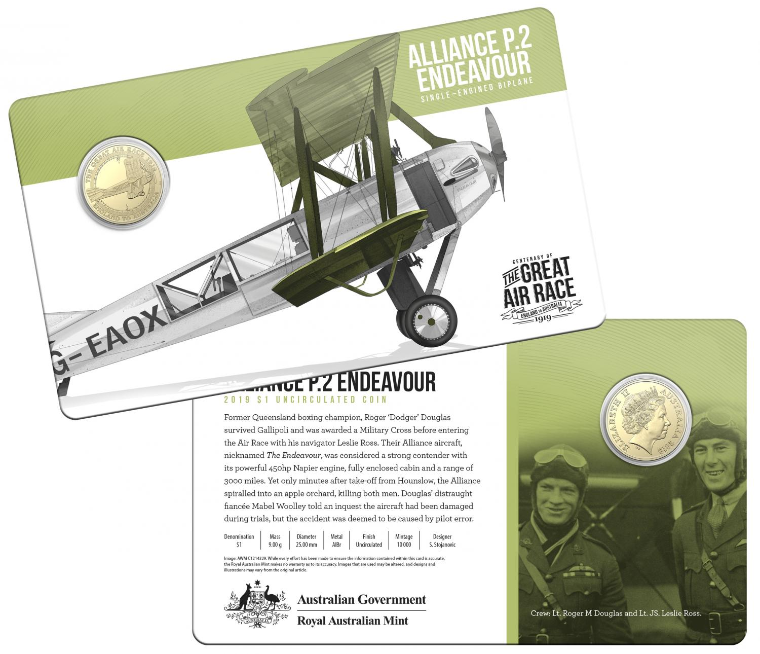 Thumbnail for 2019 Centenary off the Great Air Race Uncirculated $1.00 - Alliance P.2 Endeavour