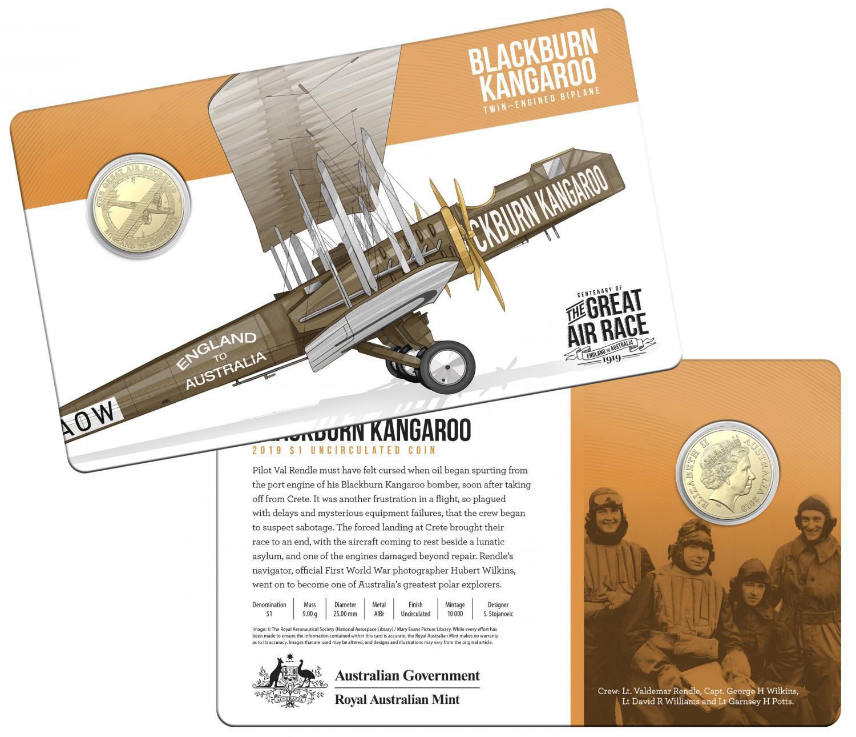 Thumbnail for 2019 Centenary off the Great Air Race Uncirculated $1.00 - Blackburn Kangaroo