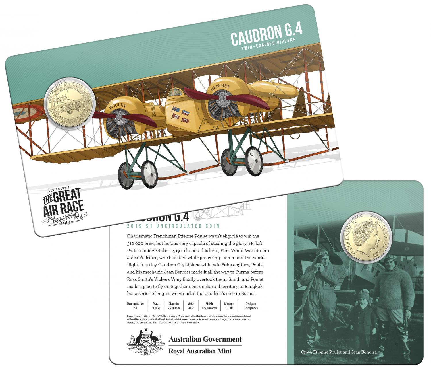 Thumbnail for 2019 Centenary off the Great Air Race Uncirculated $1.00 - Caudron G.4