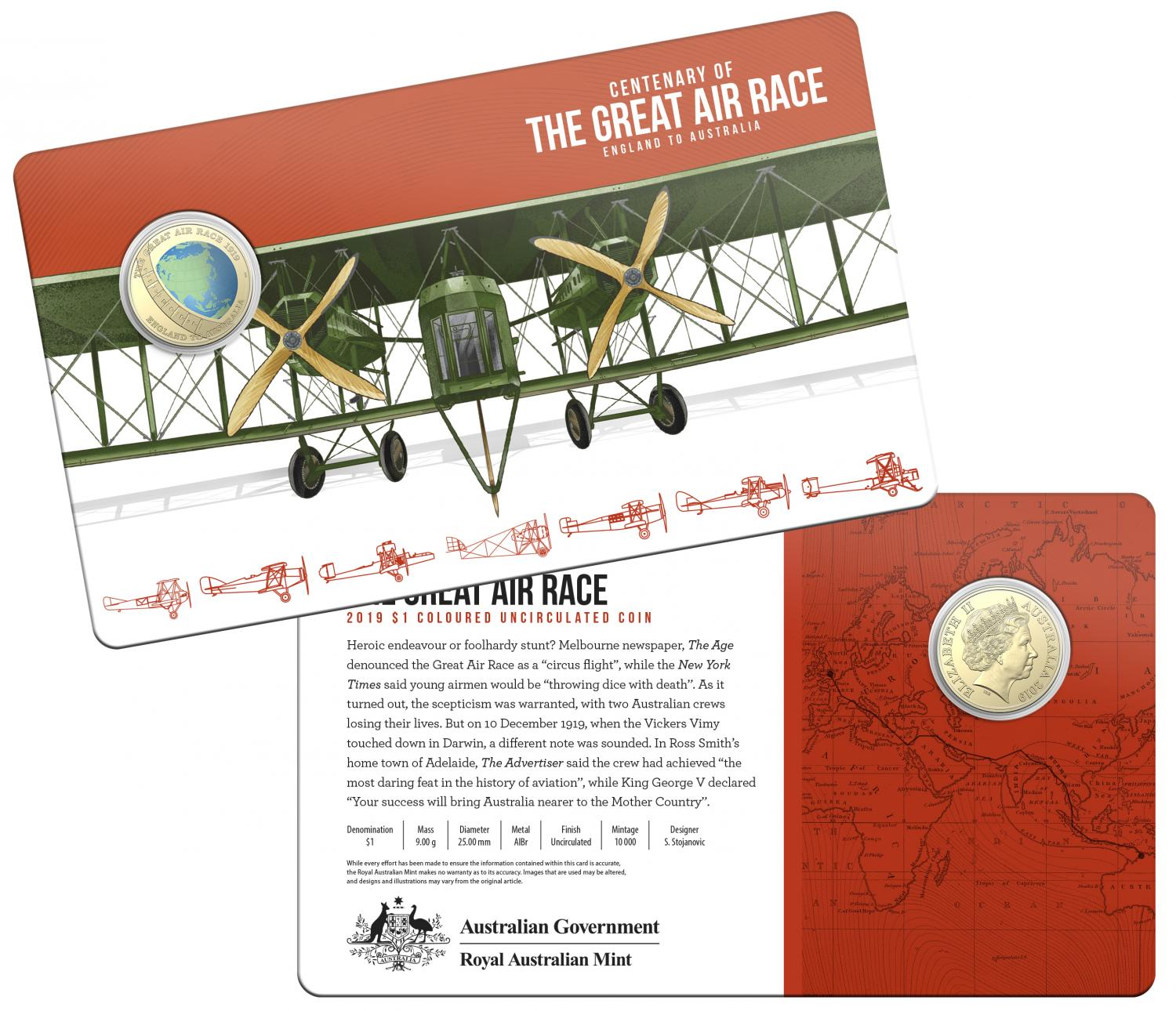 Thumbnail for 2019 Centenary off the Great Air Race Uncirculated Coloured $1.00 - England to Australia