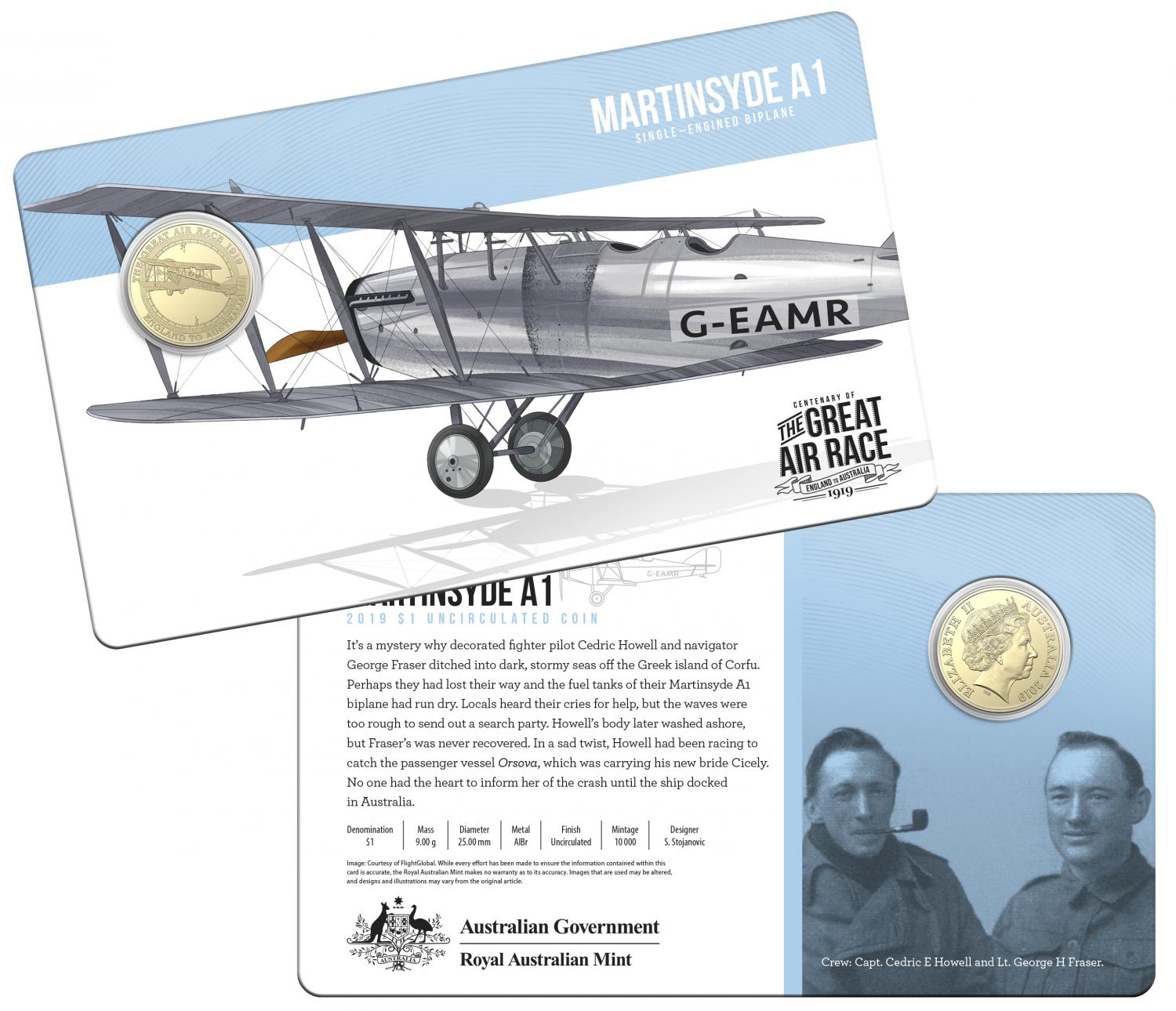 Thumbnail for 2019 Centenary off the Great Air Race Uncirculated $1.00 - Martinsyde A1