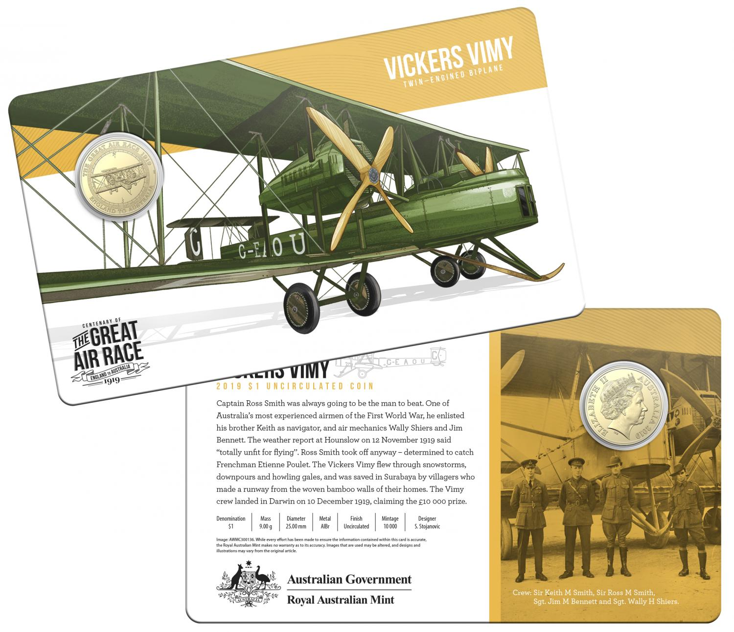 Thumbnail for 2019 Centenary off the Great Air Race Uncirculated $1.00 - Vickers Vimy