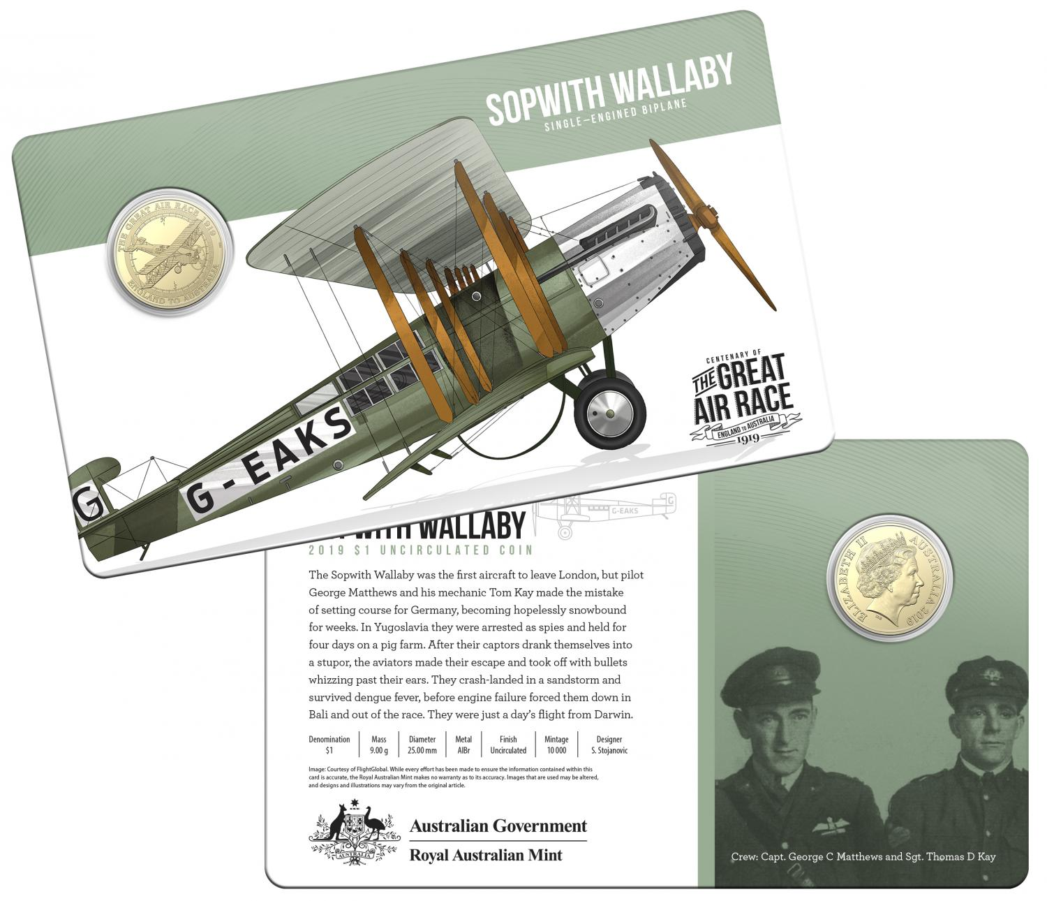 Thumbnail for 2019 Centenary off the Great Air Race Uncirculated $1.00 - Sopwith Wallaby