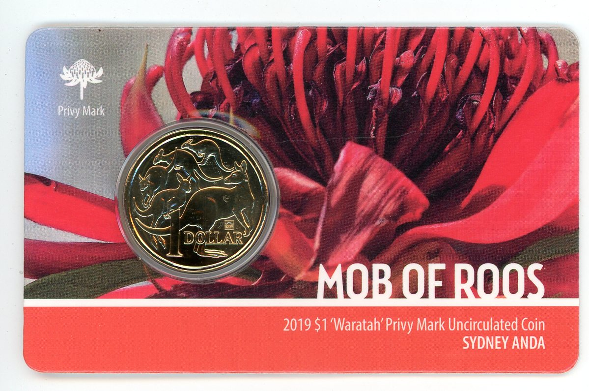 Thumbnail for 2019 Mob of Roos - Waratah Privy Mark UNC Coin - Sydney ANDA