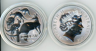 Thumbnail for 2019 One Ounce Silver $1 Coin Mob of Roos Singapore Privy Mark