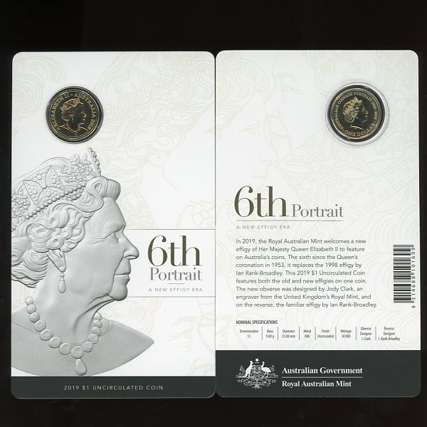 Thumbnail for 2019 $1 6th Portrait - A New Effigy Era UNC Coin on Card