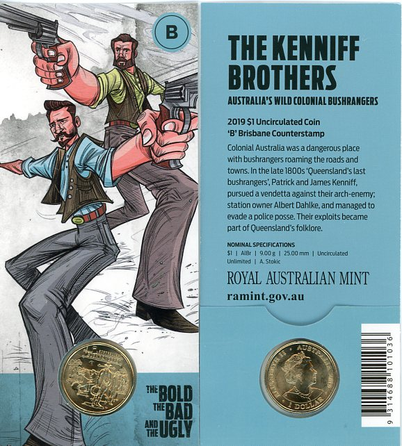 Thumbnail for 2019 $1 UNC Coin 'B' Brisbane Counterstamp Australian Bushrangers - The Kenniff Brothers