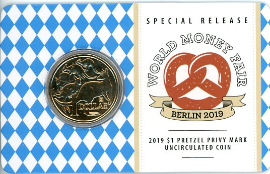 Thumbnail for 2019 $1 Mob of Roos World Money Fair Berlin Pretzel Privy Mark Uncirculated Coin