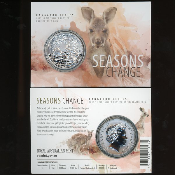 Thumbnail for 2019 $1  Kangaroo Series - Seasons Change Fine Silver Frosted UNC Coin on Card
