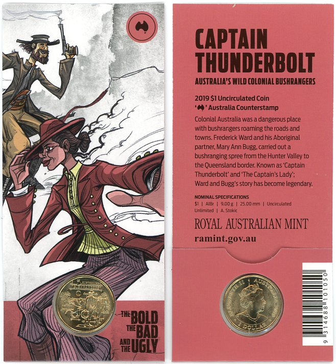 Thumbnail for 2019 $1 UNC Coin Australian Coun terstamp - Captain Thunderbolt