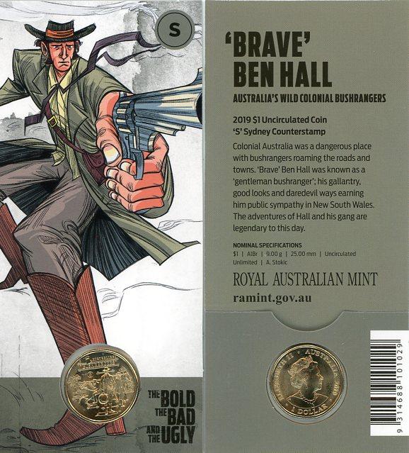 Thumbnail for 2019 $1 UNC Coin 'S' Sydney Counterstamp Australian Bushrangers - Brave Ben Hall