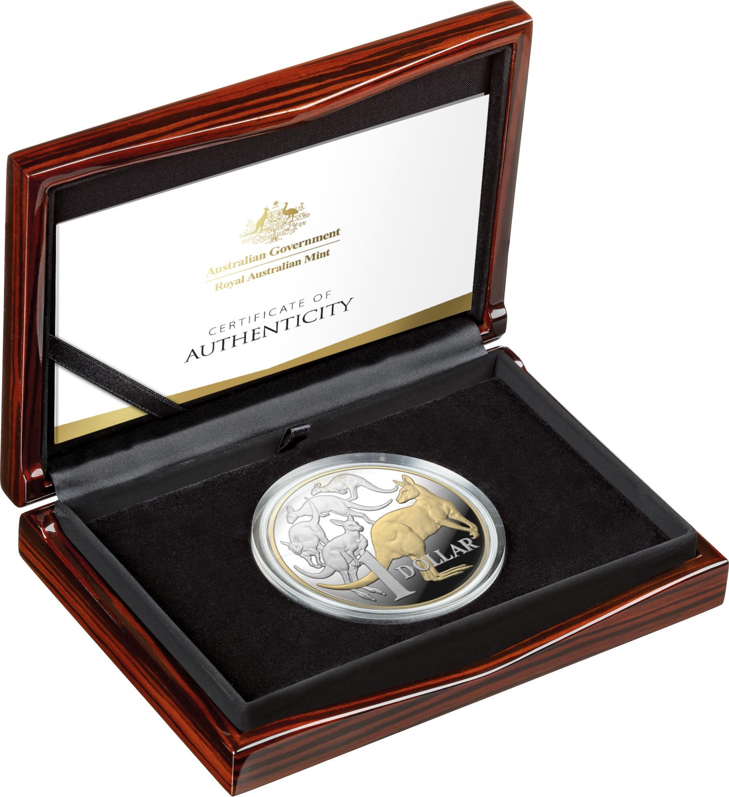 Thumbnail for 2020 -  $1  5oz Gold Plated Silver Proof Coin - Icons of Australia - Mob of Roos
