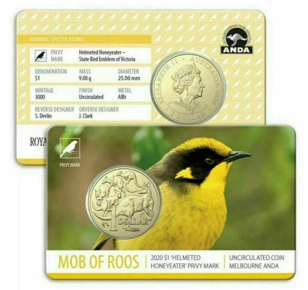 Thumbnail for 2020 Mob of Roos $1 with Helmeted Honeyeater Privy Mark Melbourne ANDA