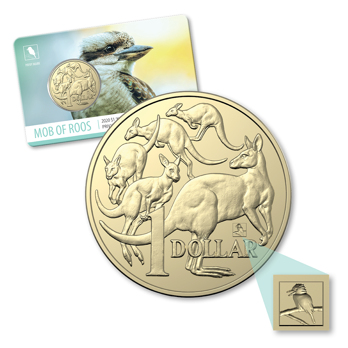 Thumbnail for 2020 Mob of Roos $1 with Kookaburra Privy Mark Sydney ANDA